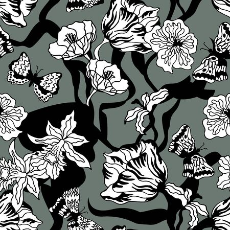 Oriental textile collection. Floral print with Japanese motifs.