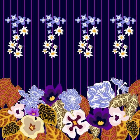 Botanical seamless print with different elements. Vintage textile collection. Illusztráció