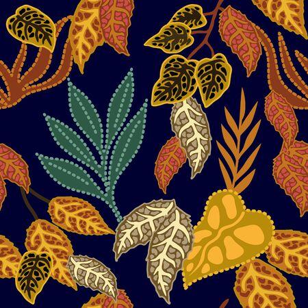 Vintage textile design collection. On black background.