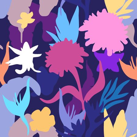 Bright botanical silhouettes on dark background.