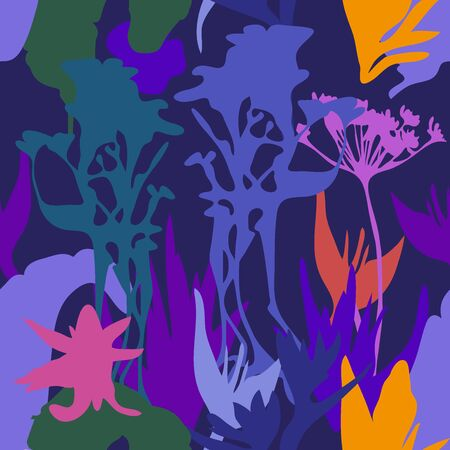 Bright botanical silhouettes on dark background. 向量圖像
