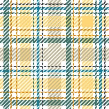 Template for plaids, scarves ond other clothes. Yellow, white, green. Illustration