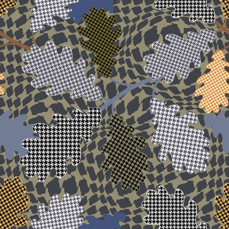 Seamless vector pattern with botanical motifs and hounds tooth elements. 向量圖像