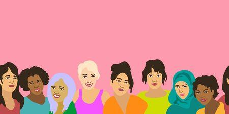 Sisterhood concept. On pink background. 向量圖像