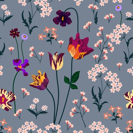 flowers pattern for textile design, cards, scrap booking.