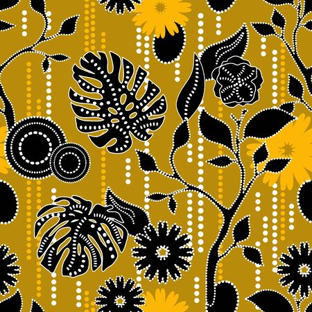 Fabric design inspired by Asian folk art. Template for scarves, dresses, shirts.