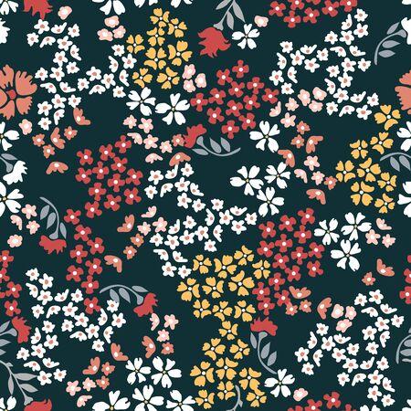 Botanical seamless print with different floral elements. Vintage textile collection. Ilustración de vector