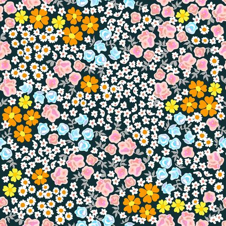Seamless vector pattern with floral elements on black background. Retro textile collection.