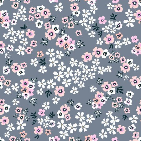 Botanical seamless print with different floral elements. Vintage textile collection.