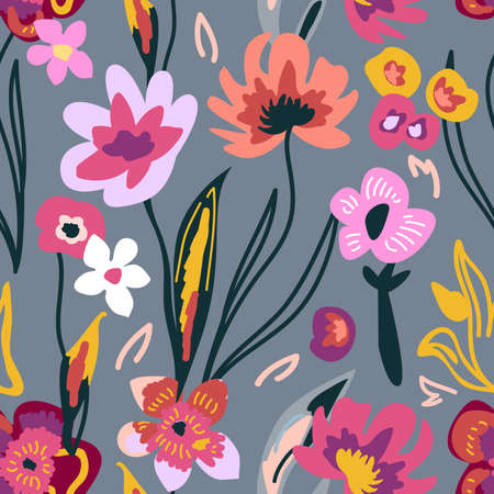 Seamless pattern with large flowers. Vintage textile collection.