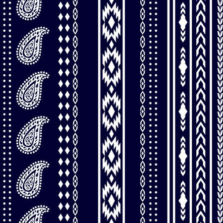 Retro textile collection. White on dark blue background. 矢量图像