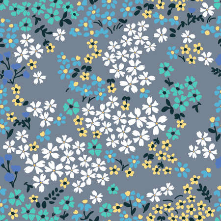 Vintage print with  inflorescences. Retro textile collection.