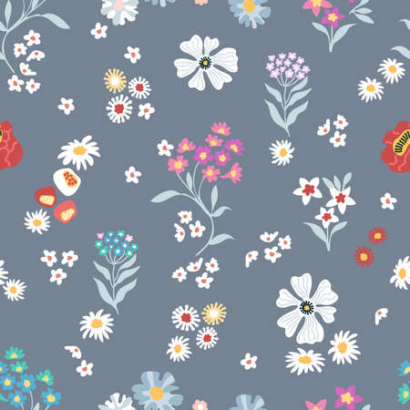 Vintage print with small inflorescences. Retro textile collection.