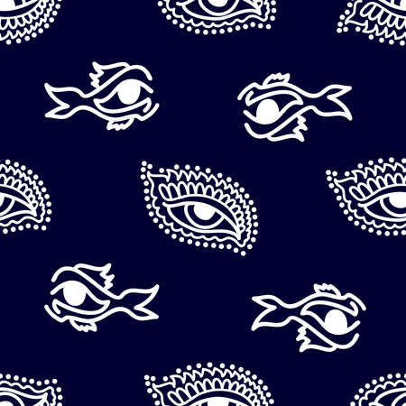 Man fashion textile collection. White on dark blue background.