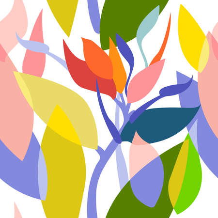 Colorful leaves and flowers on contrast background. Swimwear textile collection.