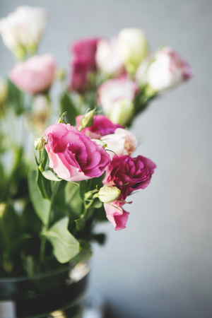 Flowers Pink Small Roses In A Vase Flowers Pink Stock Photo