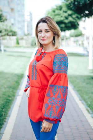 Beautiful young woman in traditional ethnic ukrainian style. Vyshivanka