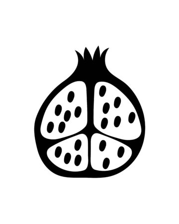 Black pomegranate fruit cut in half flat icon, isolated on white background.