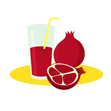 Freshly squeezed pomegranate juice in a glass with a tube, isolated on a white background.