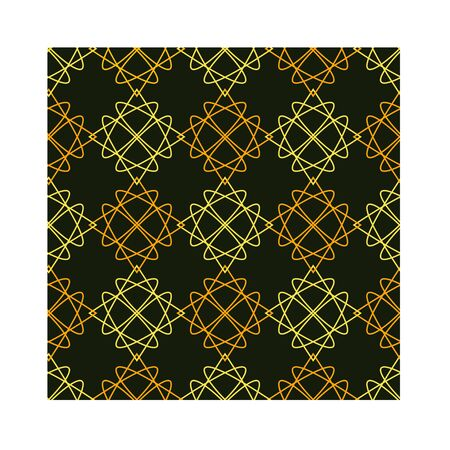 Seamless geometric pattern with simple abstract shapes on black background. Stock Illustratie