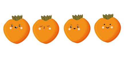 Set of cute persimmon kawaii fruits, isolated on white background. Vector flat illustration.
