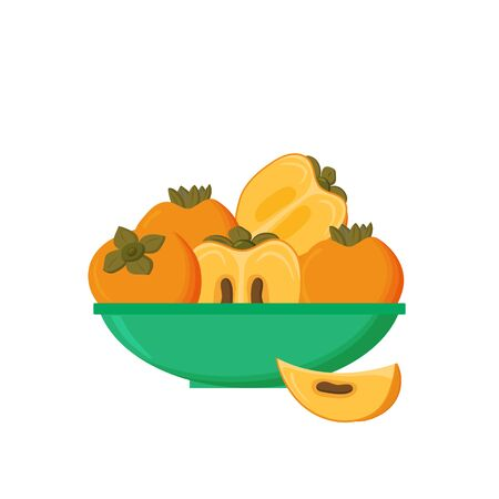 Plate of juicy ripe orange persimmon fruit, their halves and wedges, isolated on a white background.