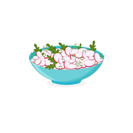 Red radish salad, dill, green onion and arugula leaves in blue bowl, isolated on white background. Vector flat illustration.