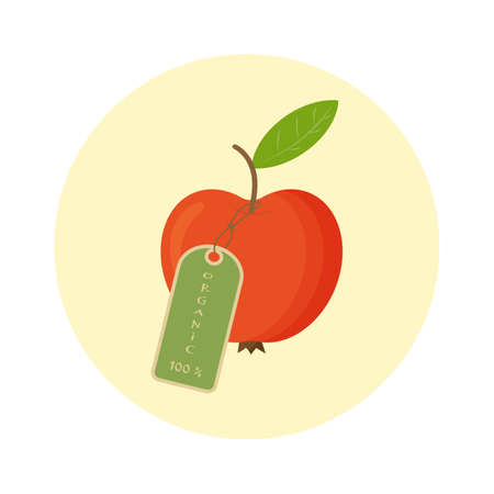 Red apple with tag 100 percent organic, isolated on white background. Concept fruit. Vector flat illustration.