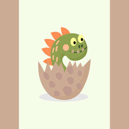 Cute dinosaur in an egg, isolated on white background. Little cool dino, child concept. Vector cartoon illustration.