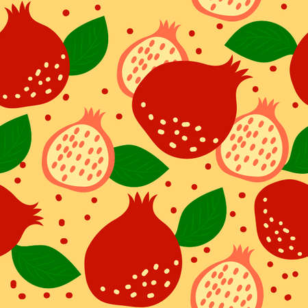 Seamless pattern with pomegranate fruits and leaves on yellow background. Vector cartoon illustration. Vetores