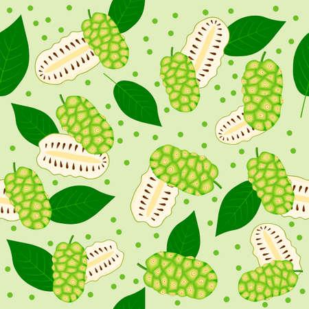 Seamless pattern of morinda citrifolia, noni fruit, superfood, on green background. Organic healthy food. Vector cartoon illustration.
