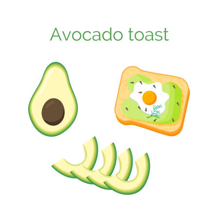 Avocado toast. Sandwich with bread, avocado, egg, dill and sesame seeds, isolated on white background. Organic healthy food. Vector cartoon illustration.