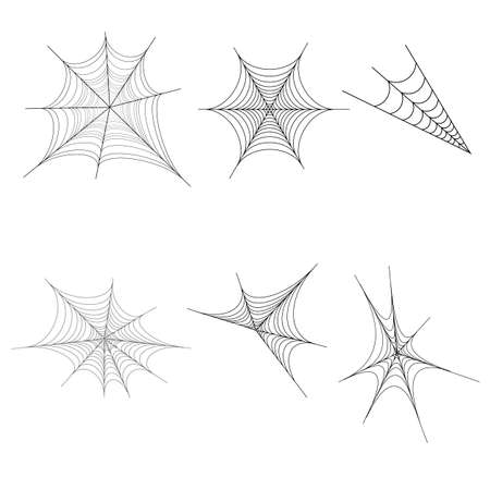 Halloween spiderweb set, isolated on white background. Halloween design elements. Spooky Scary horror decor vector.