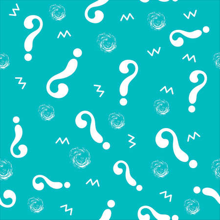 Seamless pattern with white question marks and simple abstract shapes on blue background. Education concept. Vector flat illustration.