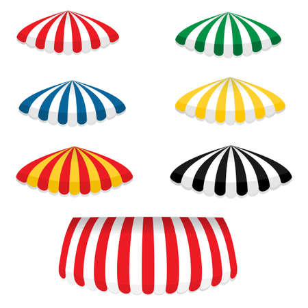Striped colorful awnings set round shape for shops, cafes and street restaurants, isolated on white background.Vector cartoon illustration.