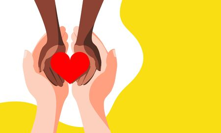 Red heart in children's black hands. The concept of helping African children, mercy and hope. Design banner copy space. Vector stock illustration.