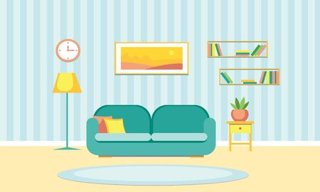 The cozy interior of the living room. Vector stock illustration in a flat style.
