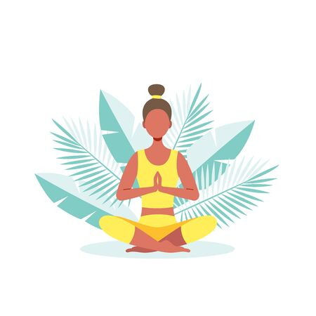 The girl on the background of palm leaves does yoga, meditates. Healthy lifestyle concept.Vector stock illustration.