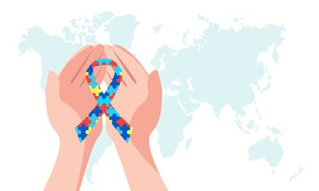 Tape in the hands of a person, a symbol of autism. World Autism Awareness Day. Vector stock illustration.