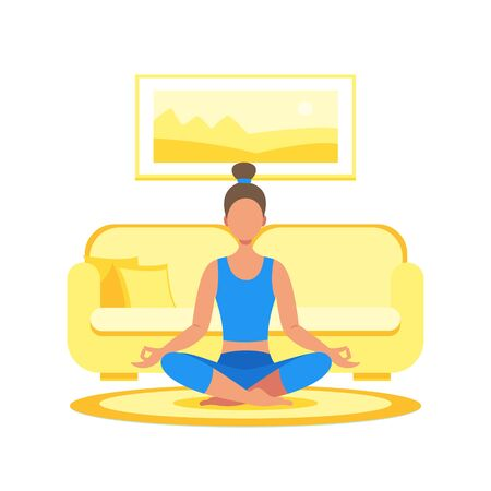 The girl meditates at home in the lotus position, does yoga. Vector stock illustration in a flat style. Ilustração