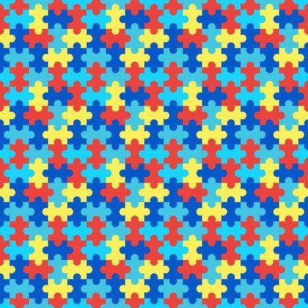 Puzzle seamless pattern. Vector stock illustration. Symbol of autism. 矢量图片