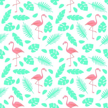 Pink flamingos and tropical leaves summer seamless pattern. Vector illustration. Design for textile, fabric, wallpaper. Stock Vector - 150319534