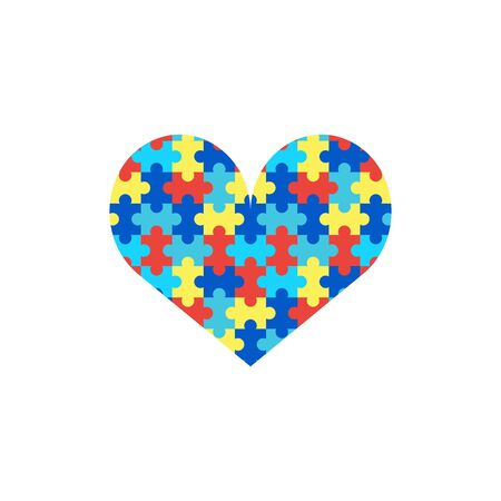Heart puzzle isolated on a white background. World Autism Awareness Day. Vector stock illustration.