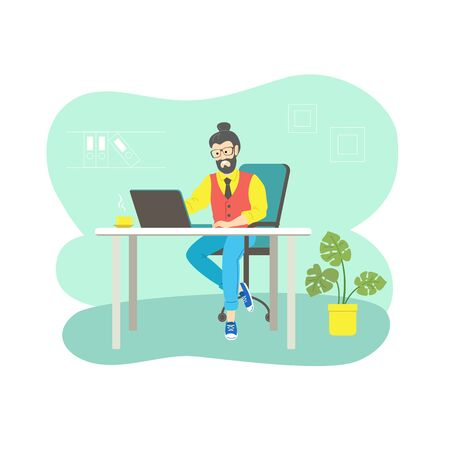 Character male hipster businessman at the computer in the office, vector illustration in flat style.