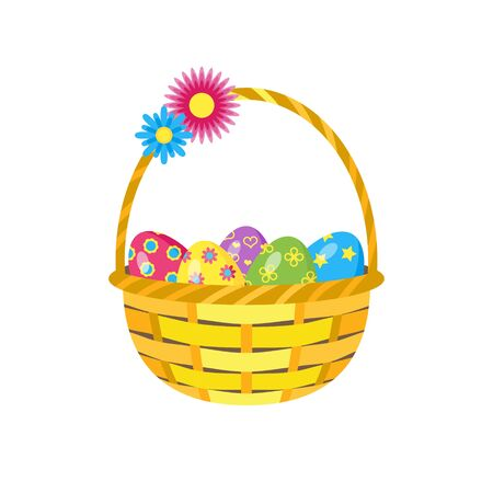 Basket with easter eggs isolated on white background. Element for design of greeting card, invitation. Vector stock illustration.  イラスト・ベクター素材