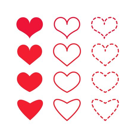 Set of vector red hearts on a white background. Element for design heart day, valentines day, wedding. Фото со стока - 150463479