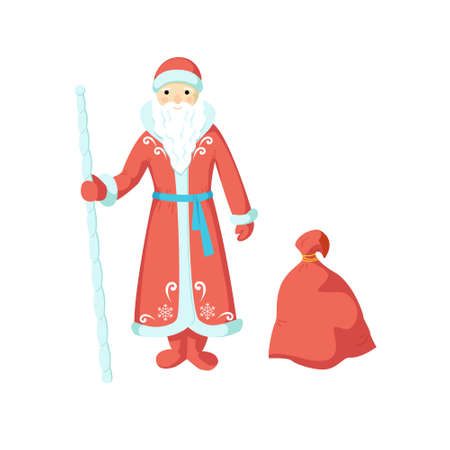 Russian Santa Claus in a red coat and a bag with gifts isolated on white