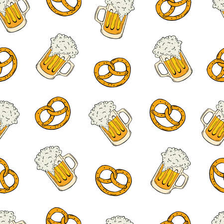 Oktoberfest seamless pattern hand drawing. Attributes of the Oktoberfest festival. Vector illustration. Vektoros illusztráció