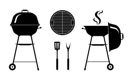 Barbecue grill silhouette set isolated on white background. Black-white elements for design. Stock vector illustration. Ilustrace