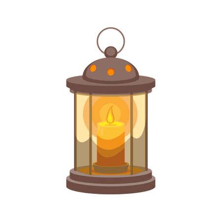 Lantern candlestick isolated on white background. Stock vector illustration.